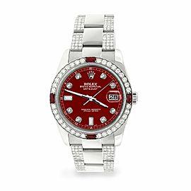 Rolex Datejust 36mm 4.5Ct Diamond Bezel/Bracelet/Imperial Red Dial 116200 Watch