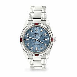 Rolex Datejust 36mm 4.5Ct Diamond Bezel/Bracelet/Ice Blue Jubilee Dial Watch