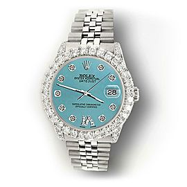 Rolex Datejust 31mm 2.95ct Diamond Bezel/Lugs/Turquoise Roman VI Dial Watch