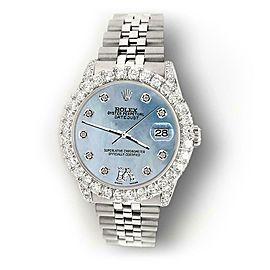 Rolex Datejust 31mm 2.95ct Diamond Bezel/Lugs/Blue MOP Roman VI Dial Watch