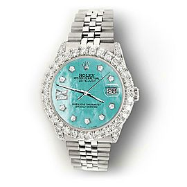 Rolex Datejust 31mm 2.95ct Bezel/Lugs/Aquamarine MOP Roman IX Star Dial Watch