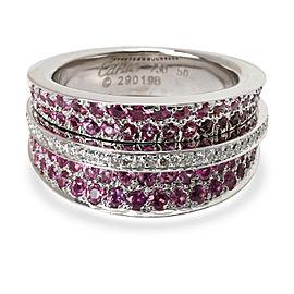 Cartier Paris Pink Sapphire & Diamond Ring in 18K White Gold 1.40 CTW
