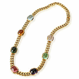 Bvlgari Seven Station Mixed Cabochon Gemstone Necklace in 18K Yellow Gold 5 CTW