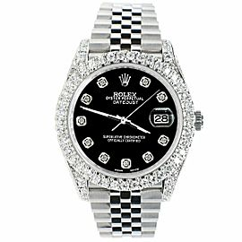 Rolex Datejust 41mm 5.9CT Bezel/Lugs/Sides/Black Dial 126300 Watch