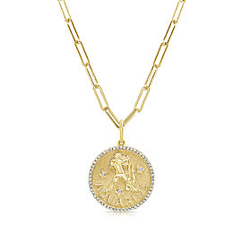 Aquarius Zodiac Diamond Necklace in 14KT Yellow Gold