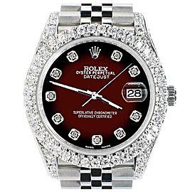 Rolex Datejust 41mm 5.9CT Bezel/Lugs/Sides/Maroon Vignette 126300