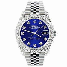 Rolex Datejust 41mm 5.9CT Bezel/Lugs/Sides/Navy Blue Dial 126300