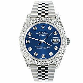 Rolex Datejust 41mm 5.9CT Bezel/Lugs/Sides/Cobalt Blue Dial 126300