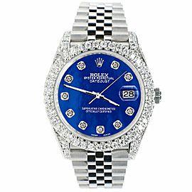 Rolex Datejust 41mm 5.9CT Bezel/Lugs/Sides/Royal Blue MOP Dial 126300