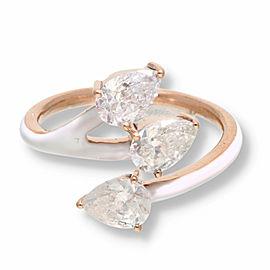 Pear Diamond Bypass White Enamel Ring in 14K Rose Gold 1.62 CTW