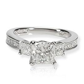 Scott K Three Stone Princess Diamond Engagement Ring in 14K Gold D SI1 2.14 CTW