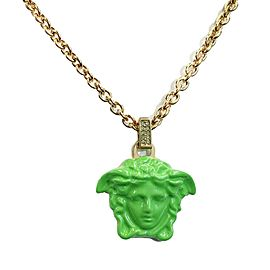 Versace - Green 'La Medusa' Pendant Necklace - Gold & Green - Brand New w/ Tags