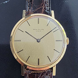 Mens Patek Philippe Calatrava 3537 33mm 18k Gold Hand-Wind 1970s Vintage RA238