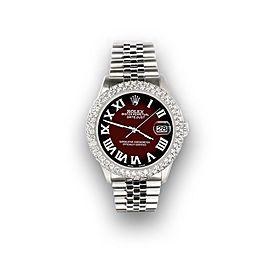 Rolex Datejust 36mm 4.6ct Dome Diamond Bezel/Maroon Vignette Roman Dial Watch
