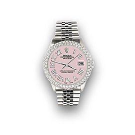 Rolex Datejust 36mm 4.6ct Dome Diamond Bezel/Orchid Pink Roman Dial Steel Watch