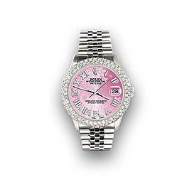 Rolex Datejust 36mm 4.6ct Dome Diamond Bezel/Pink Flower Roman Dial Steel Watch