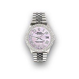 Rolex Datejust 36mm 4.6ct Dome Diamond Bezel/Pink Pearl Roman Dial Steel Watch