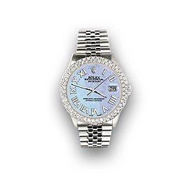 Rolex Datejust 36mm 4.6ct Dome Diamond Bezel/Purple MOP Roman Dial Steel Watch