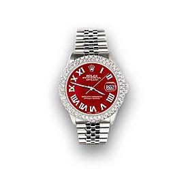 Rolex Datejust 36mm 4.6ct Dome Diamond Bezel/Red MOP Roman Dial Steel Watch