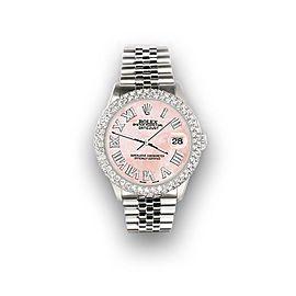 Rolex Datejust 36mm 4.6ct Dome Diamond Bezel/Royal Pink MOP Roman Dial Watch