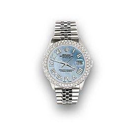 Rolex Datejust 36mm 4.6ct Dome Diamond Bezel/Sky Blue MOP Roman Dial Steel Watch
