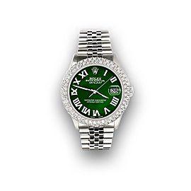 Rolex Datejust 36mm 4.6ct Dome Diamond Bezel/Emerald Green MOP Roman Dial Watch