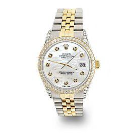 Rolex Datejust 2-Tone 36mm 1.4ct Diamond Bezel/Lugs/White MOP Dial Watch