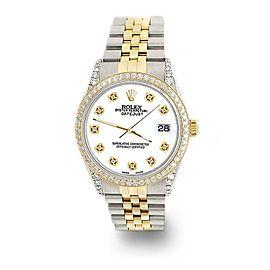 Rolex Datejust 2-Tone 36mm 1.4ct Diamond Bezel/Lugs/White Dial Jubilee Watch