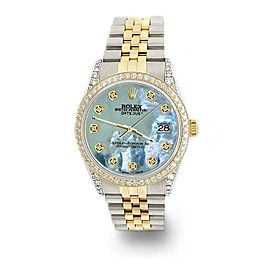 Rolex Datejust 2-Tone 36mm 1.4ct Diamond Bezel/Lugs/Tahitian Blue MOP Dial Watch