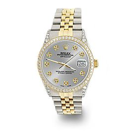 Rolex Datejust 2-Tone 36mm 1.4ct Diamond Bezel/Lugs/Silver Dial Jubilee Watch