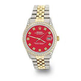 Rolex Datejust 2-Tone 36mm 1.4ct Diamond Bezel/Lugs/Scarlet Red Dial Watch