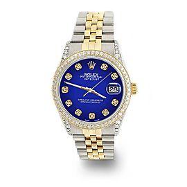 Rolex Datejust 2-Tone 36mm 1.4ct Diamond Bezel/Lugs/Navy Blue Dial Jubilee Watch