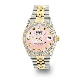 Rolex Datejust 2-Tone 36mm 1.4ct Diamond Bezel/Lugs/Royal Pink MOP Dial Watch