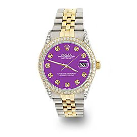 Rolex Datejust 2-Tone 36mm 1.4ct Diamond Bezel/Lugs/Sangria Dial Jubilee Watch