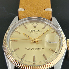 Mens Rolex Oyster Datejust 1601 36mm 18k SS Automatic 1970s Vintage Swiss RA228