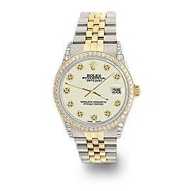 Rolex Datejust 2-Tone 36mm 1.4ct Diamond Bezel/Lugs/Linen White Dial Watch