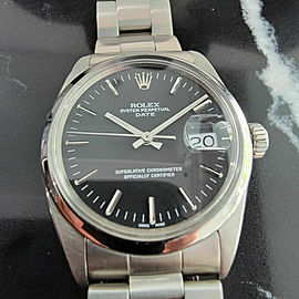 Mens Rolex Oyster Perpetual Date 1500 35mm Automatic 1960s w Rolex Pouch