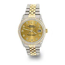 Rolex Datejust 2-Tone 36mm 1.4ct Diamond Bezel/Lugs/Champagne Jubilee Dial Watch