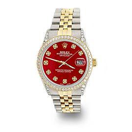 Rolex Datejust 2-Tone 36mm 1.4ct Diamond Bezel/Lugs/Red MOP Dial Jubilee Watch