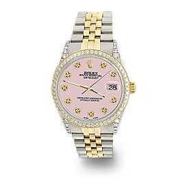 Rolex Datejust 2-Tone 36mm 1.4ct Diamond Bezel/Lugs/Orchid Pink Dial Watch
