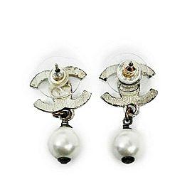 Chanel CC - Pearl Dangle - Silver Tone - Faux Pearl Earrings
