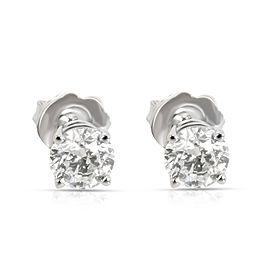 GIA Certified Diamond Stud Earring in 14K White Gold H-I SI1 1 CTW