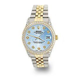 Rolex Datejust 2-Tone 36mm 1.4ct Diamond Bezel/Lugs/Blue Flower Dial Watch