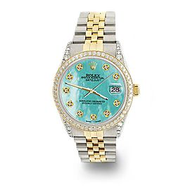Rolex Datejust 2-Tone 36mm 1.4ct Diamond Bezel/Lugs/Aquamarine MOP Dial Watch
