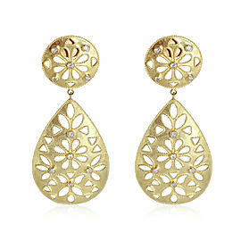 Shevanti Large Round Teardrop Diamond Earrings in 18K Yellow Gold (1.00 ctw)