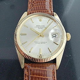 Mens Rolex Oyster Perpetual Date 1503 35mm 14k Solid Gold Automatic 1970s RA204