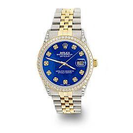 Rolex Datejust 2-Tone 36mm 1.4ct Diamond Bezel/Lugs/Royal Blue MOP Dial Watch