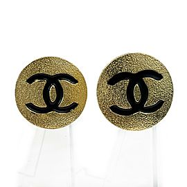 Chanel - Large Textured CC Clip On - Gold Tone and Black - Earrings