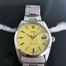Mens Rolex Oysterdate Precision 6694 34mm 1960s Manual Wind Vintage Watch RA108