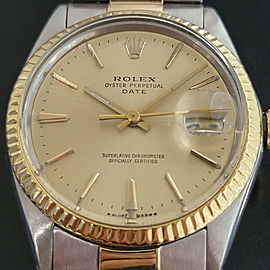 Mens Rolex Oyster Perpetual Date 1500 35mm 14k Gold ss Automatic 1960s RA168